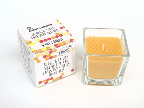 Bougie carrée parfumée Niaouli Orange bio